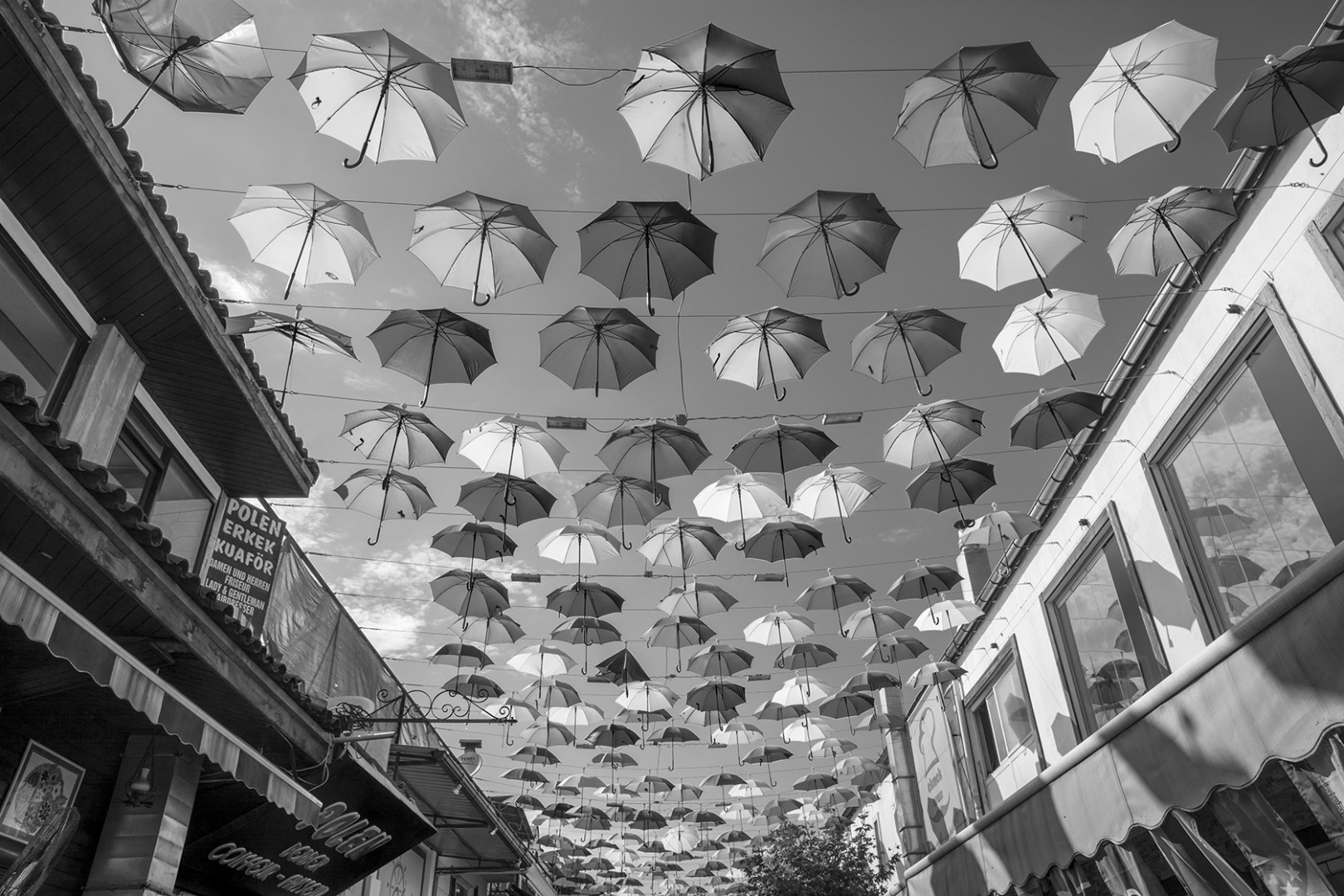 Umbrellas strung over a street in Antalya