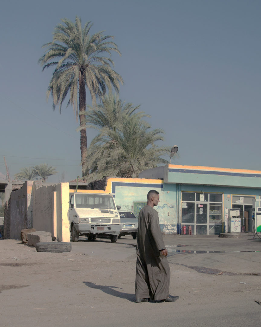 A Man, A Yellow Line and some Palms