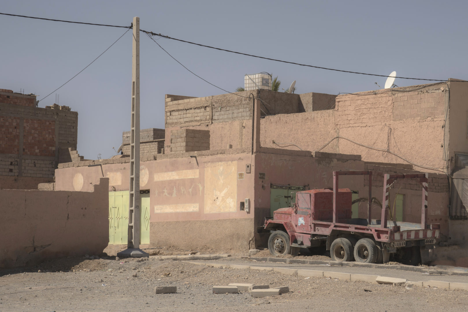A red truck in Errachidia Morocco
